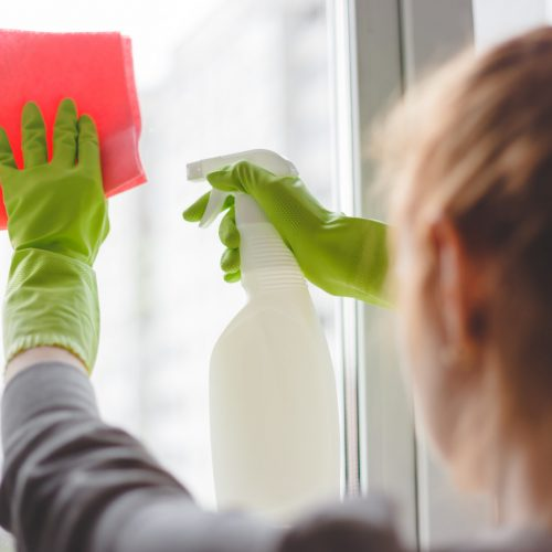 Women cleaning a window with spray and cloth. Close up view